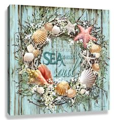 Blue and Green Coastal Wreath Pizazz Print Framed Wall Decor x Coastal Wreath, Seashell Wreath, Nautical Wreath, Seashell Art, Seashell Crafts, Beach Crafts, Coastal Decor, Beach Wreaths, Seashell Decorations
