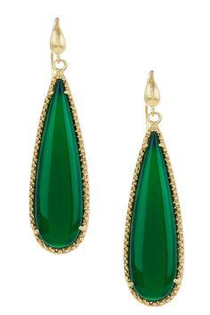Rivka Friedman | 18K Gold Clad Green Onyx Elongated Teardrop Dangle Earrings