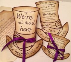 Alice in Wonderland Personalised Party in Style Vintage Shabby Chic Mad Hatter's Hat Wedding Invitations (Birthday / Christening / Baby Shower / Dinner Party)