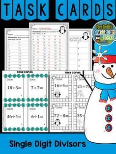#Winter Single Digit Divisors Division Task Cards, Recording Sheets and Answer Keys. 36 Task Cards in color and 36 Task Cards in black and white. 3 Recording Printables with 3 Answer Key Sheets. #FernSmithsClassroomIdeas #TpT $