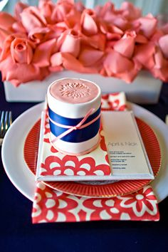 Tablescape Theme Colors: Salmon & Navy / Mini Cake from Sweet And Saucy Shop