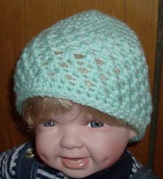 mint green beanie 0 to 3 months by grandmakaystreasures on Etsy, $4.00