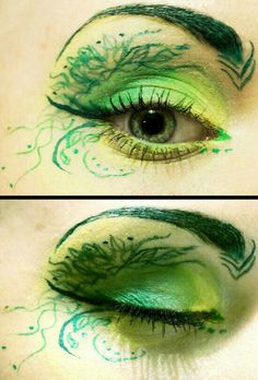 eye makeup & halloween costume for red heads poison ivy Elf Makeup, Fairy Makeup, Cosplay Makeup, Costume Makeup, Ivy Costume, Rave Makeup, Mermaid Makeup, Zombie Makeup, Makeup Eyes