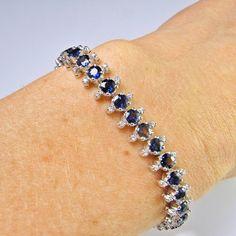 Art Deco Sapphire Diamond Bracelet Natural Blue Sapphire Bracelet Handmade Bracelet Diamond Tennis B Sapphire Bracelet, Diamond Bracelets, Diamond Gemstone, Sapphire Diamond, Cartier Love Bracelet, Bracelet Set, Blue Sapphire, Modern Jewelry, Fine Jewelry