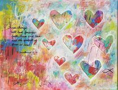 Bible Verse Canvas, Bible Verses, Mixed Media Painting, Mixed Media Canvas, Heart Painting, Flower Canvas, Abstract Canvas, Painting Abstract, Heart Decorations
