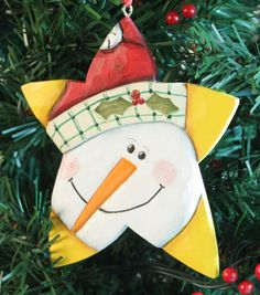 Designed © and carved by Susan Hendrix, Wasatch Woodcarver. Christmas Patterns, Xmas, Christmas Ornaments, Star Ornament, Wood Carving, Wood Crafts, Bright Colors, Snowman, Hand Carved