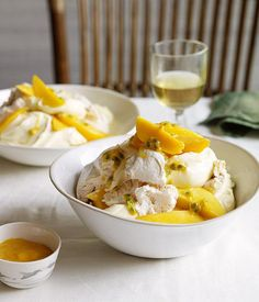 Australian Gourmet Traveller recipe for mango and passionfruit mess. Mango Recipes, Gourmet Recipes, Cooking Recipes, Dessert Recipes, Savoury Recipes, Passionfruit Recipes, Passionfruit Tart, A Food, Food And Drink