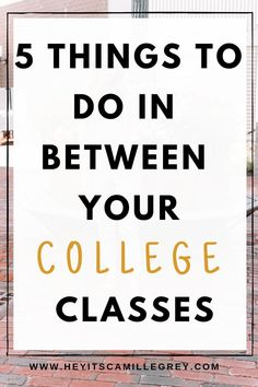 I have almost two hours in between my classes right now, so what do I do with that time? I'm sharing the 5 things to do in between your college classes! 5 Things to Do In Between Your College Classes. Learn how to maximize that time between classes! College Majors, College Classes, Scholarships For College, Education College, College Life, College Students, Physical Education, Career College, College Success