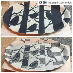 "Check out these wonderful sgraffito illustrations by @ha_austin_ceramics! ・・・ ""Phew....just 3 hours to draw, paint black slip and carve...Birds in the Trees"" #porcelain #ceramics #artforthetable #ceramicshowcase #birds #trees #naturescene #cone10 #grpotteryforms"