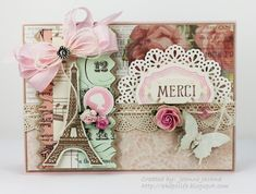 Paris by akeptlife - Cards and Paper Crafts at Splitcoaststampers Diy Cards, Your Cards, Tour Eiffel, Paris Cards, Shabby Chic Cards, Ideas Geniales, Vintage Cards, Vintage Labels, Card Tags