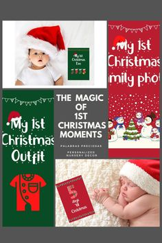 Remember every moment of baby's first Christmas with these adorable photo prop cards. Download instantly and print at home. #babysfirstchristmas #firstchristmas #babyphotoideas #makingmemories #firstyear