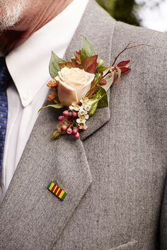 Boutonniere  Fall Wedding   Miller Bowman Floral Design  Grey Suit Wedding  Rust and Nude Roses