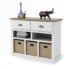 Entryway Console Table with Bins, White and Oak