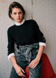 Sézane - Pull Miles - Cachemire Boyish Style, Road Transport, Sewing Pants, Coton Biologique, Comme Des Garcons, Parisian Chic, Facon, Denim Fashion, How To Introduce Yourself