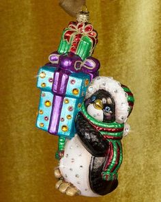 H8LHU Jay Strongwater Penguin with Gifts Christmas Ornament