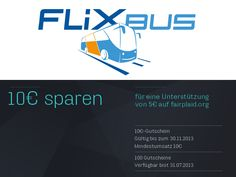 BEI FLIXBUS 10€ SPAREN! Wochenendtrip geplant? Freund/in endlich wieder besuchen?  Flixbus schenkt Euch für eine 5€-Unterstützung 10€.  Jetzt Projekt auf #fairplaid unterstützen: http://www.fairplaid.org/Projekte.html