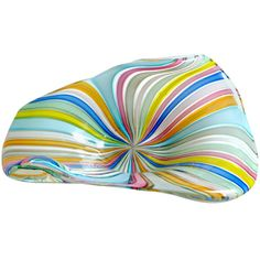 Fratelli Toso Murano Rainbow Colors Filigrana Ribbons Italian Art Glass Bowl | From a unique collection of antique and modern bowls at https://www.1stdibs.com/furniture/dining-entertaining/bowls/