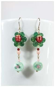 Aventurine Garden handmade earrings Coral, Murano, green Agate, Aventurine 14K Gold by Aura Virginia