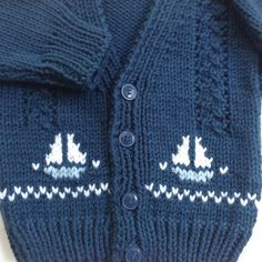 Toddler knit cardigan with sailboat motifs 12 to by LurayKnitwear