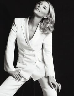 Cate Blanchett, photographed by Matias Indjic during the annual Cannes Film Festival for Madame Figaro, June (click the image for extremely high-res photo. Cate Blanchett, Foto Fashion, Fashion Mode, Fashion Shoot, Business Portrait, White Suits, Shooting Photo, Female Portrait, Suits For Women