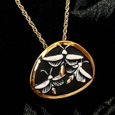 """Long Chain Necklace 24/"""" A Large Antique Silver Tone Dragonfly Pendant Necklace"""