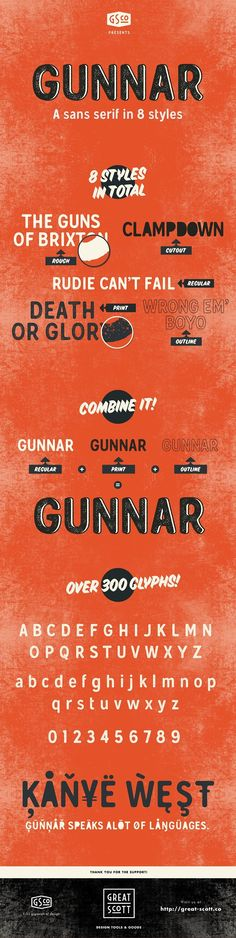 Gunnar - Sans serif with 8 styles - Gunnar Bold is a friendly sans serif typeface ideally suited for display, advertising, packaging, logotypes and signage.  It's meant to recall the age of old printshops. When ink bled a little on the paper from the printing press - softening the lines and rounding the corners. By Great Scott $15 #affiliatelink