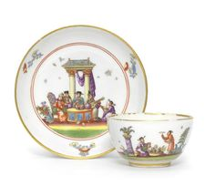 A Meissen chinoiserie teabowl and saucer, circa 1735-40