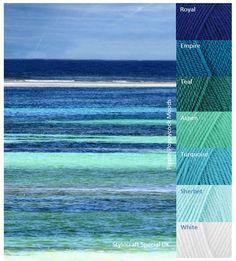 MB Sea Sceen - color scheme for home Yarn Color Combinations, Colour Schemes, Color Blending, Color Mixing, Beach Color, Yarn Inspiration, Colour Pallette, Color Balance, Colour Board