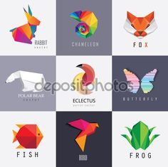 Абстрактные красочные логотипы животные дизайн — стоковая иллюстрация #76118037