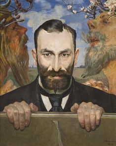 Jacek Malczewski, Portret Feliksa Jasieńskiego, 1903 r.  Drugi pochodzący z 1903 roku portret Jasieńskiego przedstawia kolekcjonera en face, w popiersiu, z twarzą o demonicznym wyrazie, patrzącym wprost i przenikającym wzrokiem widza.   #listopad #movember #wąsy #moustache #november