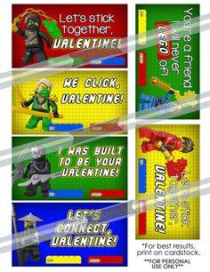 Ninjago Inspired Lego Valentine Cards INSTANT DOWNLOAD by myPrintvite, $3.00