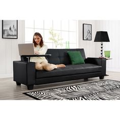 Vivo Easy Laptop Futon With Arm Storage Black 320