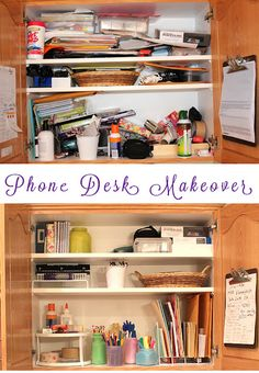 Clear the clutter!  Phone desk makeover!
