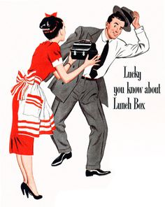 Ladies, if you think your one night stand might try to sneak off in the morning, see him off at the door with a lunch box packed full hot coffee, delicious homemade sandwiches, and fertilized ovaries. Homemade Sandwich, Vintage Cooking, Perfect Love, One Night Stands, Vintage Advertisements, Thinking Of You, Lunch Box, Lady, Hot Coffee