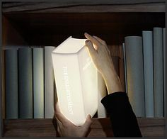 """3. """"The Enlightenment"""" is perfect for a little 'light reading'. In essence it's a lamp that fits perfectly in your bookcase, illuminating those tomes surrounding it. Also cool - PROCEEDS go to educating children in third world countries. It's the gift that gives twice!"""
