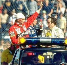 Gilles With Niki Lauda & Keke Rosberg, Long Beach, 1982.