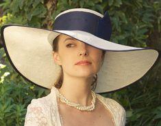 Navy Hat Wide Brim Hat Wedding Hat Kentucky Derby by AwardDesign