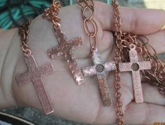 Copper Cross and Chain - 4 Designs to choose from Copper Bracelet, Copper Jewelry, Enamel Jewelry, Resin Jewellery, Handmade Jewelry, Unique Jewelry, Jewelry Sets, Handmade Accessories, Women's Accessories