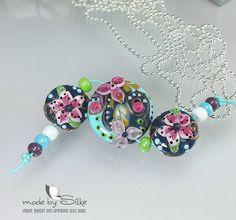 Handmade lampwork beads  lentil shaped  L i l l y by calypsosbeads, $42.00