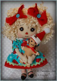 Joy Annie Ooak cloth art Holiday Christmas by OCRPrimitiveArts, $35.00