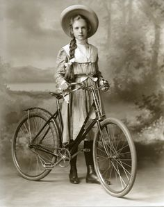Old Bicycles Young Girl With Big Hat Vintage Bicycling Hand Brake Bicycle 1890 Ishpeming, Michigan