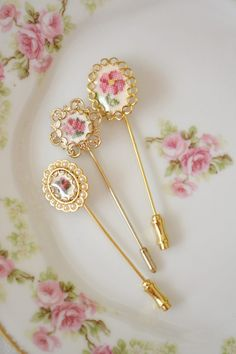 Lovely Set of 3 Vintage Stick Pins with Petit Point Centres