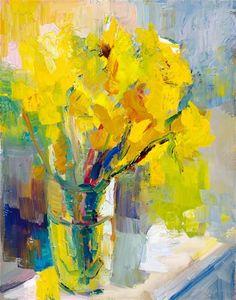 """Daffodils in rising sun"". Oil on canvas.  14 x 11ins. Artist Lena Levin."