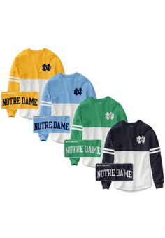 The new and improved University of Notre Dame Women's Color Block RaRa Long Sleeve T-Shirt