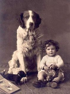 +~+~ Vintage Photograph ~+~+  Little boy and one very big dog!