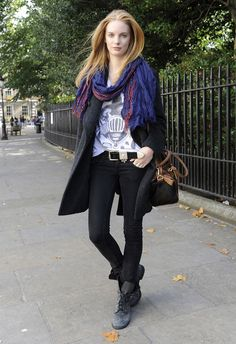 Rockish style, with bohemian scarf plus. LFW