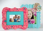 Use Americana Mixed Media Stencils to frame a photo with flowers.