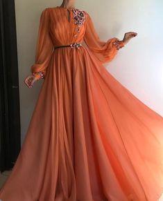 Long Sleeve Prom Dresses A-line Hand-Made Flower Chiffon Prom Dress Long Evening Dress – Hijab Fashion Orange Prom Dresses, Prom Dresses Long With Sleeves, Tulle Prom Dress, Ball Gown Dresses, Dress Long, Party Dress, Chiffon Dress, Silk Skirt, Silk Dress