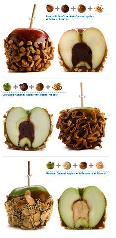 Tricked Out Caramel Apples! Caramel apple recipe ideas: how to make caramel apples from traditional to tricked-out for Halloween. Gourmet Caramel Apples, Desserts Caramel, Baking Desserts, Fall Treats, Saveur, Holiday Desserts, Candy Recipes, Apple Recipes, Cookies Et Biscuits