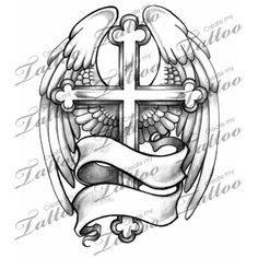 Marketplace Tattoo winged cross #1589 | CreateMyTattoo.com